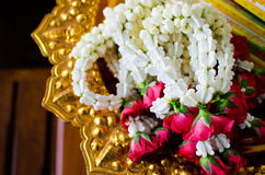 Garland of jasmine and rose flowers Stock Image