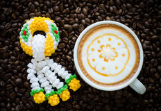 Garland knitting and latte art Royalty Free Stock Photo