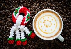 Garland knitting and latte art Royalty Free Stock Image