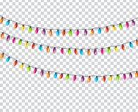 Garland Lamp Bulbs Festive Isolated colorido na ilustração transparente do vetor do fundo ilustração do vetor