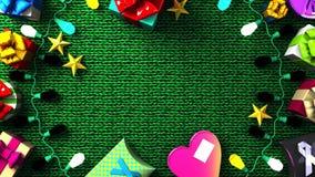 Garland Lights e caixas de presente coloridas ilustração do vetor