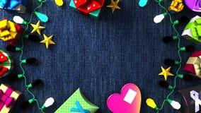 Garland Lights e caixas de presente coloridas ilustração stock