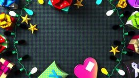 Garland Lights und bunte Geschenkboxen stock abbildung