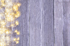 Garland Lights Wood Background, Light Wooden Board Texture Stock Image