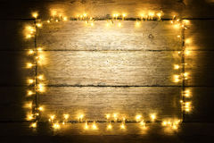 Garland Lights Wood Frame, Lighting Wooden Planks, Sign Board Royalty Free Stock Image
