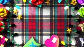 Garland Lights y cajas de regalo coloridas ilustración del vector