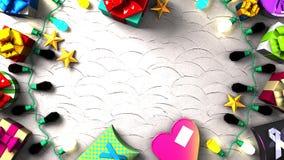 Garland Lights y cajas de regalo coloridas stock de ilustración