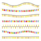 Garland with multi-colored light bulbs. On a white background. Vector illustration Stock Images