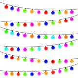 Garland with multi-colored light bulbs on a white background. Vector illustration Stock Images