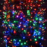 Garland. Multicolored Christmas garland on a black background Stock Photo
