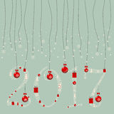 A garland of numbers 2,0,1,7. The design greeting cards for new year and Christmas. A garland of numbers 2,0,1,7 composed of Christmas paraphernalia: snowflakes Stock Photos