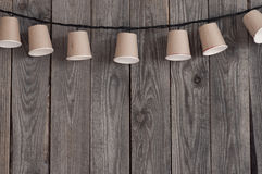 Garland of paper cups Stock Photography