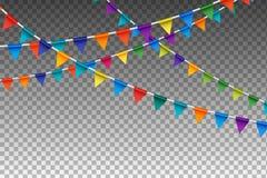 Garland With Party Flags colorido Ilustración del vector Fotos de archivo