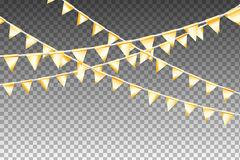 Garland With Party Flags dorato Illustrazione di vettore Immagine Stock Libera da Diritti