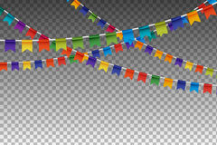 Garland With Party Flags variopinto Illustrazione di vettore Fotografia Stock