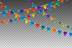 Garland With Party Flags variopinto Illustrazione di vettore Fotografie Stock