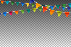 Garland With Party Flags variopinto Illustrazione di vettore Fotografia Stock Libera da Diritti