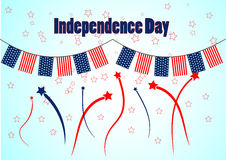 Garland in patriotic colors of american flag for an Independence Day. Background with fireworks and stars. Royalty Free Stock Photography