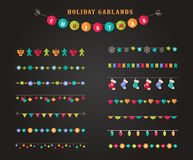 Garland - patterns, brushes, borders for Christmas and party Stock Image