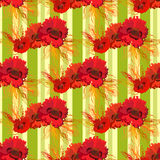 Garland of poppies and wheat. Seamless pattern Stock Photos