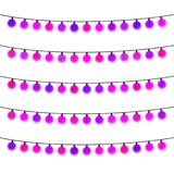Garland with purple light bulbs on a white background. Vector illustration Stock Image