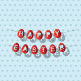 Garland red easter eggs in retro style Royalty Free Stock Images