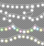 Garland Ropes with Bulbs on Transparent Background. Garland twisted ropes with white and colourful bulb in star shape on transparent background. Xmas realistic Stock Photo