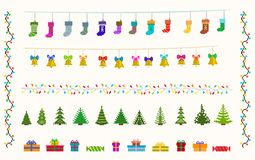 Garland set of pixel art for christmas and new Stock Image