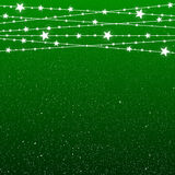Garland Star Bulbs Stars. New Year Christmas. Vector abstract background. Garland Star on Green Background. Bright White Light Bulbs Stars. Happy New Year and Royalty Free Stock Photo