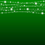 Garland Star Bulbs Stars. New Year Christmas. Vector abstract background. Garland Star on Green Background. Bright White Light Bulbs Stars. Happy New Year and Royalty Free Stock Photography