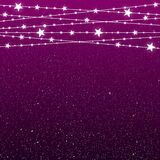 Garland Star Bulbs Stars. New Year Christmas. Vector abstract background. Garland Star on Purple Background. Bright White Light Bulbs Stars. Happy New Year and Stock Image