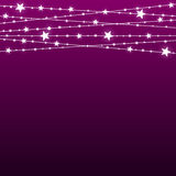 Garland Star Bulbs Stars. New Year Christmas. Vector abstract background. Garland Star on Purple Background. Bright White Light Bulbs Stars. Happy New Year and Royalty Free Stock Image
