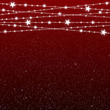 Garland Star Bulbs Stars. New Year Christmas. Vector abstract background. Garland Star on Red Background. Bright White Light Bulbs Stars. Happy New Year and Royalty Free Stock Photography