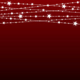 Garland Star Bulbs Stars. New Year Christmas. Vector abstract background. Garland Star on Red Background. Bright White Light Bulbs Stars. Happy New Year and Stock Photos