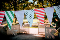 Garland of textile flags Royalty Free Stock Photo