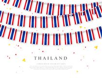Garland of Thai flags. Constitution Day of Thailand. Vector illustration on white background. Elements for design vector illustration