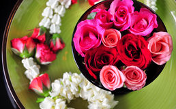 Spa rose garland of thailand. Garland rose art and jasmine flower Royalty Free Stock Photo