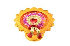 The garland on tray with pedestal. Royalty Free Stock Images
