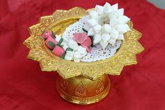 Garland on tray with pedestal Stock Photos