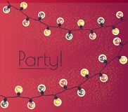 Garland of twinkling lights. Illumination for a party. Vector Royalty Free Stock Photography