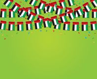 Garland UAE Flags with green Background Template Banner. Hanging Bunting Flags for UAE National day celebration. Vector illustration vector illustration