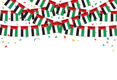 Garland UAE Flags with White Background Template. Hanging Bunting Flags for UAE National day celebration. Vector illustration stock illustration