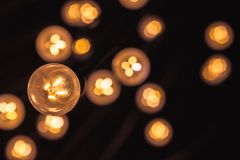 Garland of vintage bulb lamps Stock Photo