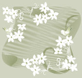 Garland of white flowers. And birds silhouettes on a green background Royalty Free Stock Photos