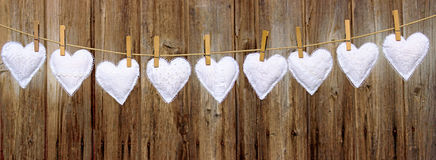 Garland of white love hearts Royalty Free Stock Images