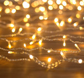 Garland of yellow lights. Blurring the background Stock Image