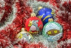 Garlands and Christmas balls Royalty Free Stock Photo