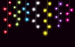 Garlands, Christmas decorations lights effects. Isolated vector design elements. Glowing lights for Xmas Holiday greeting card des Royalty Free Stock Images