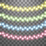 Garlands, Christmas decorations lights effects. Isolated vector design elements. Glowing lights for Xmas Holiday vector illustration