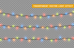 Garlands, Christmas decorations lights effects. Royalty Free Stock Photos